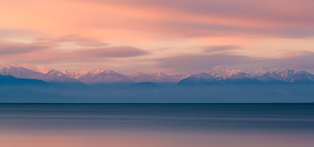 The Olympic Mountain Range as Seen from Deception Pass During Sunrise
